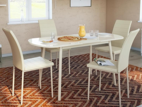 Стол обеденный Винтаж со стеклом глянцевый