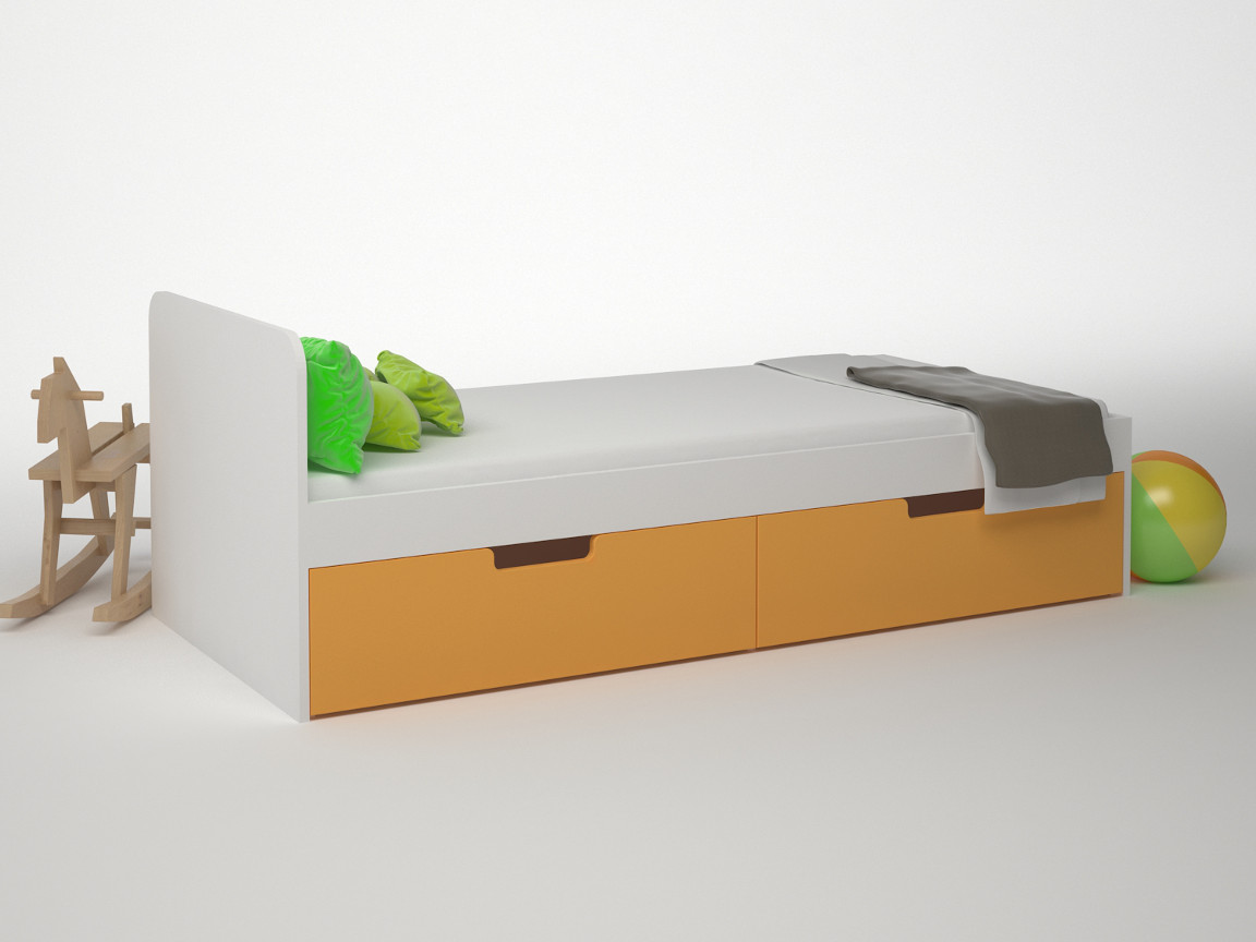 Кровать 2 ящика 1652х756х602 ДМ-К1-1-2 Сп.место 1600х700