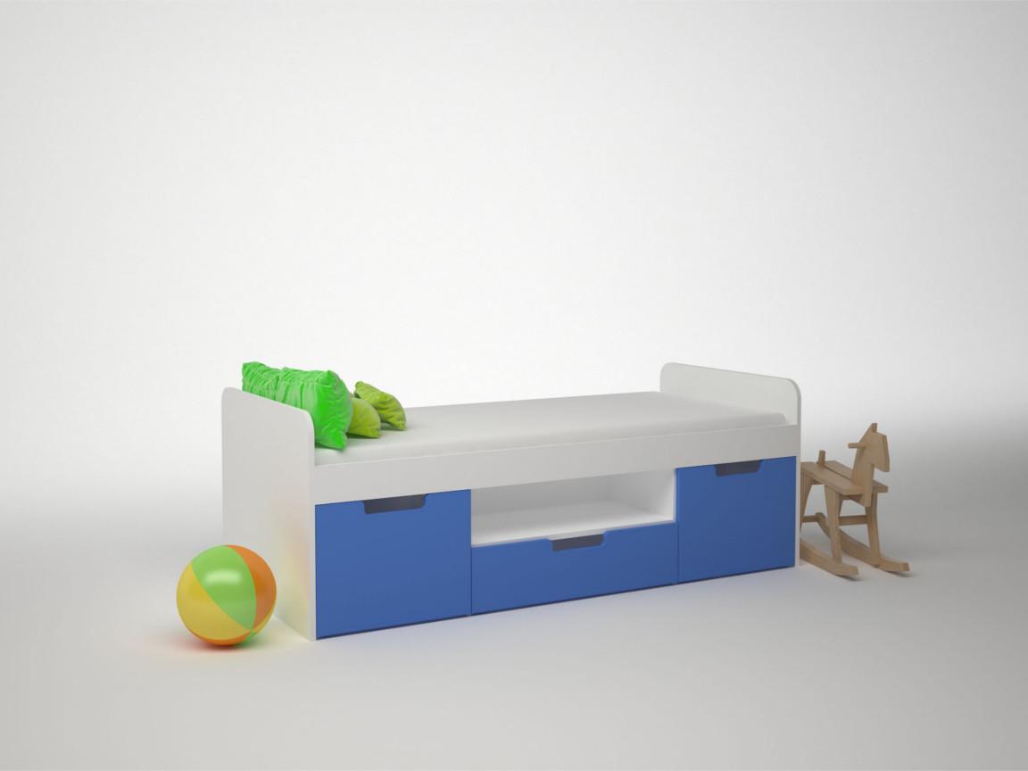 Кровать 3 ящика ДМ-К1-1-3 1652х755х602 Сп.место 1600х700