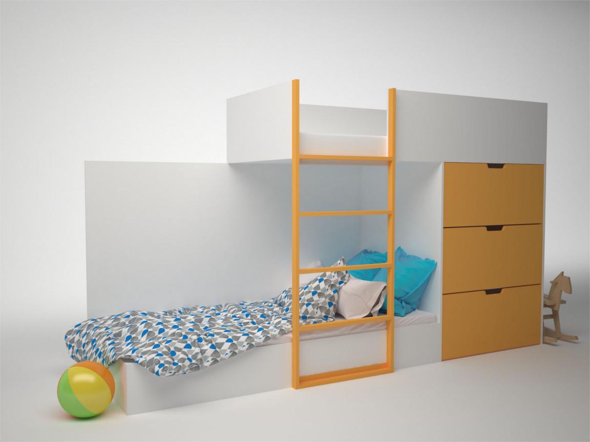 Кровать двухэтажная с комодом ДМ-К2-1-2 2796х844х1602 Сп.место 1860х800