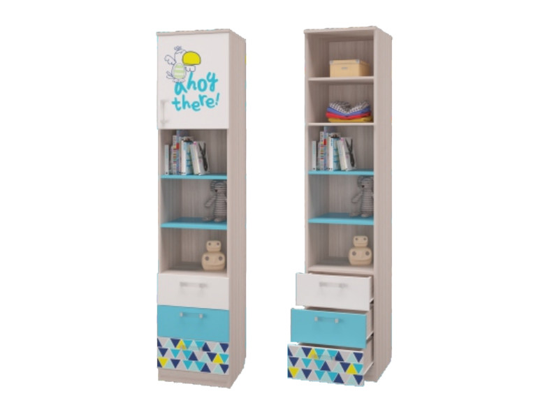 Шкаф для книг с 3-мя ящиками и дверкой 451х446х2136 мм