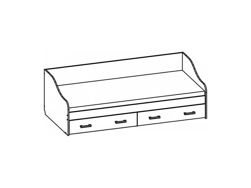 Кровать одинарная с ящиками 650х952х2032 мм спальное место 900-200