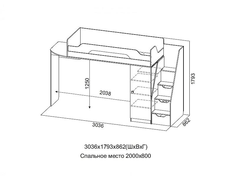 Кровать 2 ярусная 3036х1793х862 мм