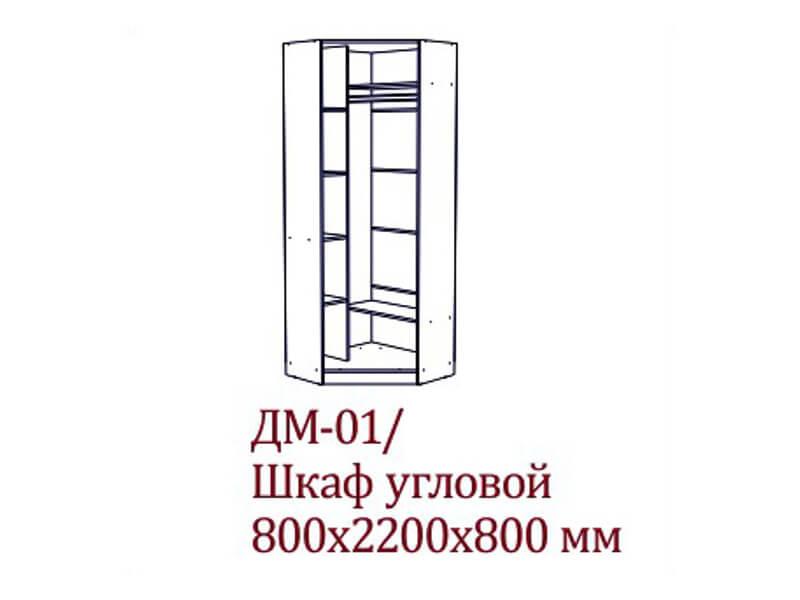 ДМ-01 Шкаф угловой 800х2200х800 мм