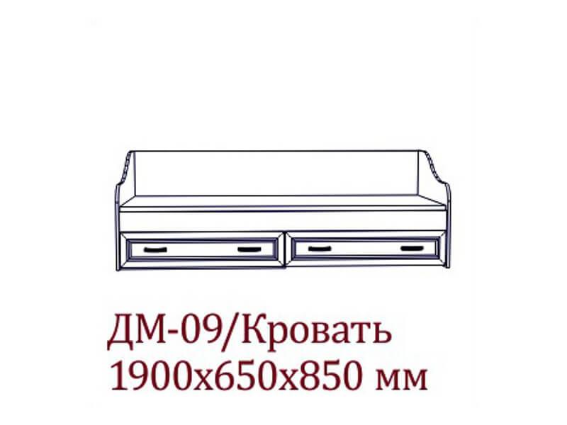 ДМ-09 Кровать 1890х650х850 мм Спальное место 800х1860мм