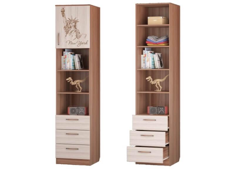 Шкаф для книг с 3-мя ящиками и дверкой 451х446х2136