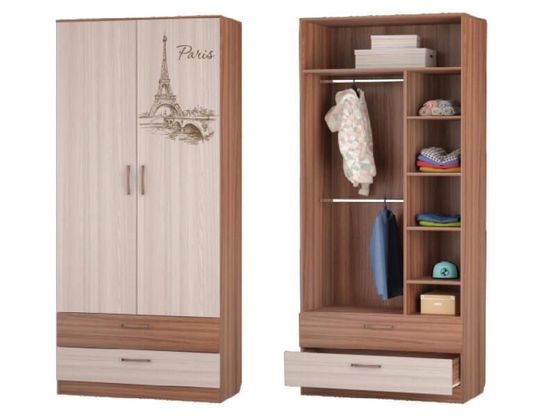 Шкаф для одежды с 2-мя ящиками 901х446х2136