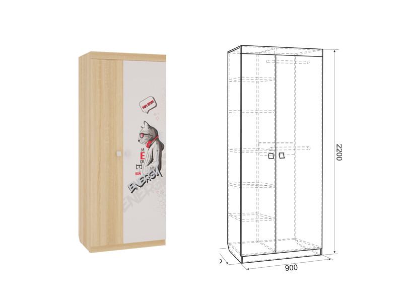Шкаф 2-створчатый ш=900 мм г=580 мм в=2200 мм