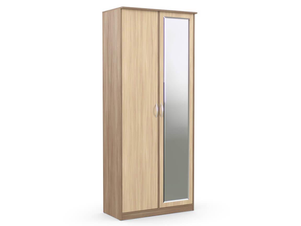 Шкаф 2-х створчатый 960х450х2300 с зеркалом ясень шимо