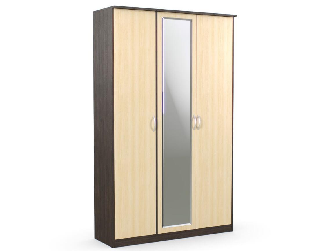 Шкаф 3-х створчатый 1415х450х2300 с зеркалом венге