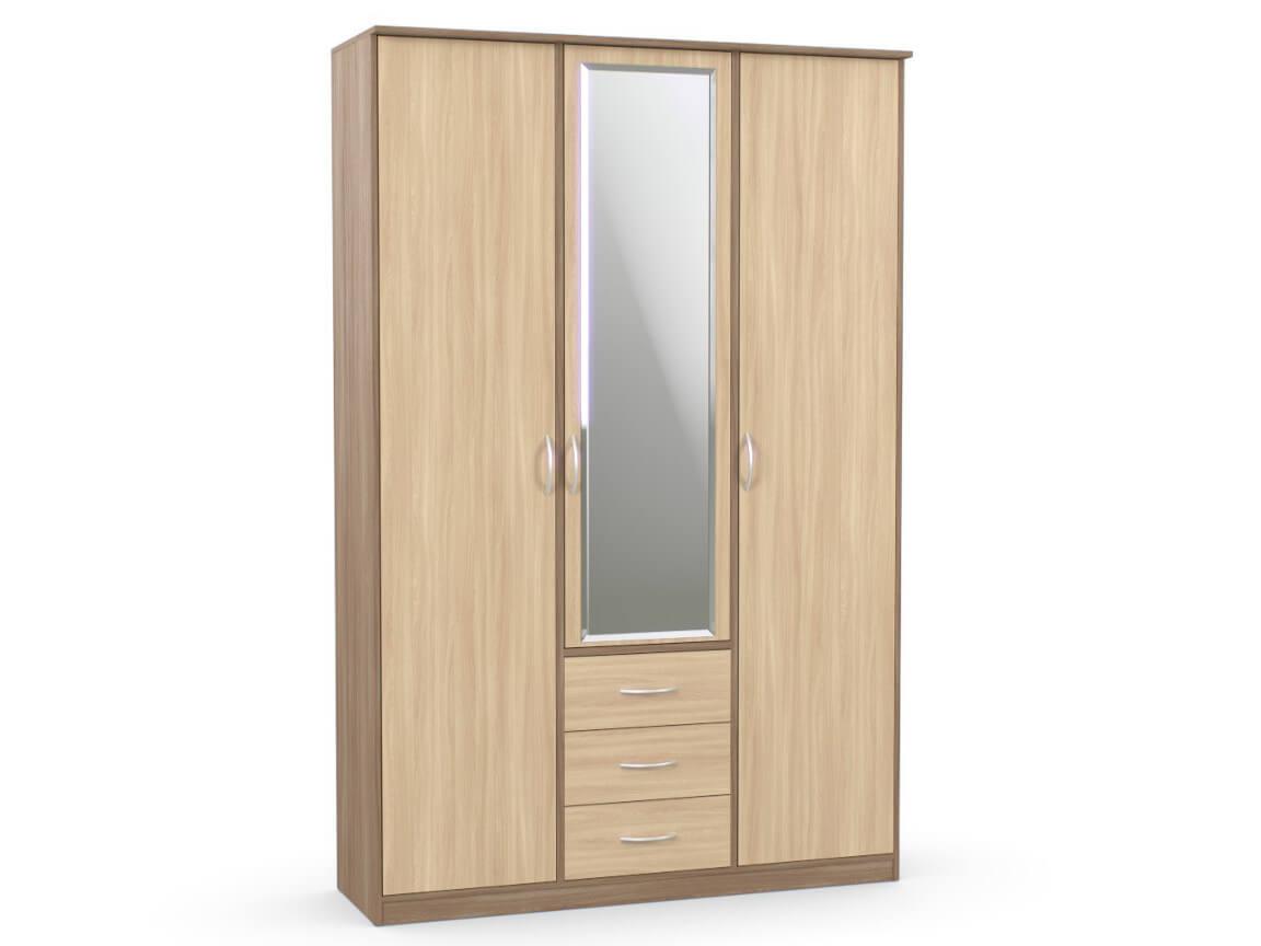 Шкаф комбинированный 1500х450х2300 с зеркалом ясень шимо