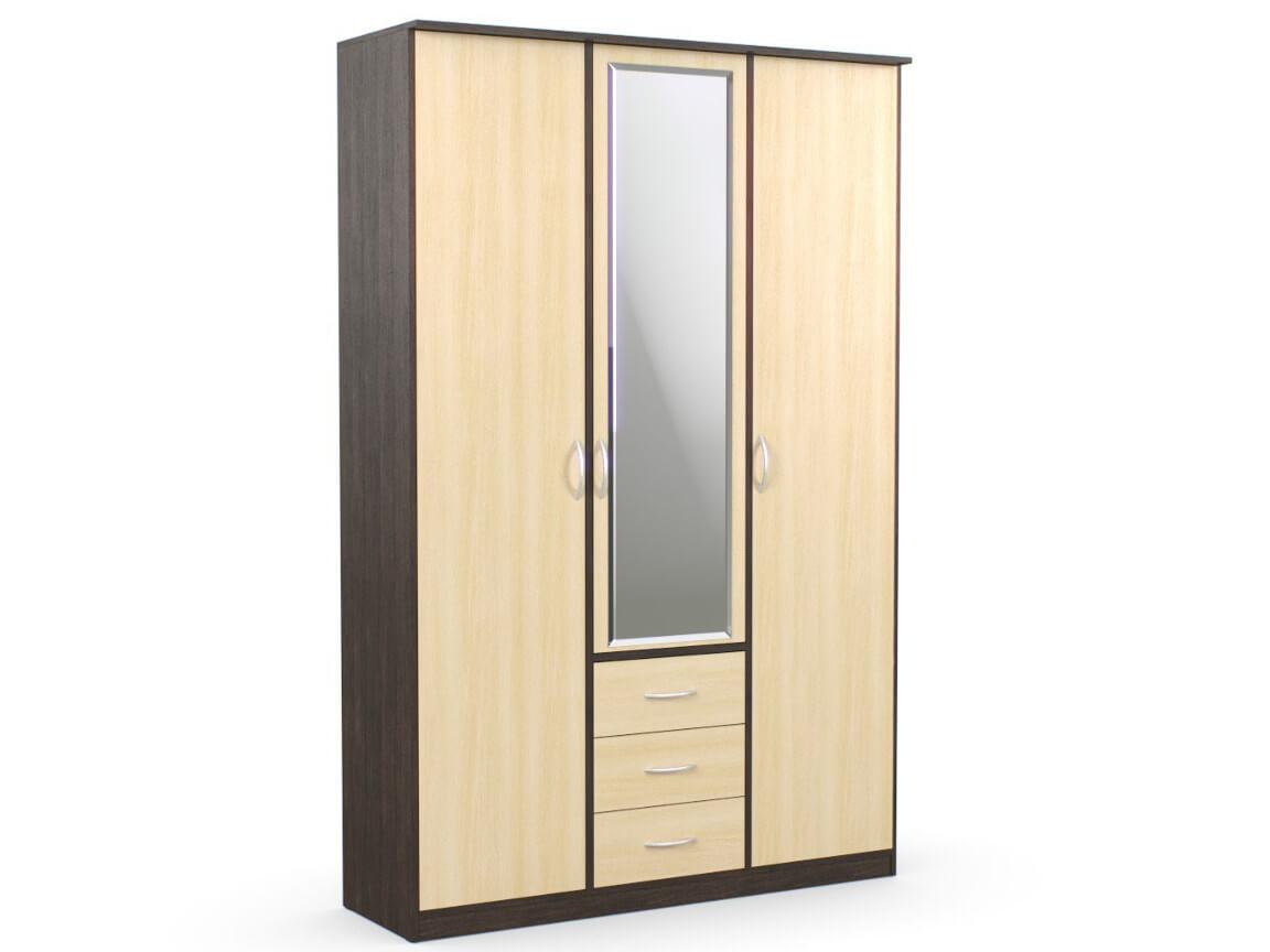 Шкаф комбинированный 1500х450х2300 с зеркалом венге