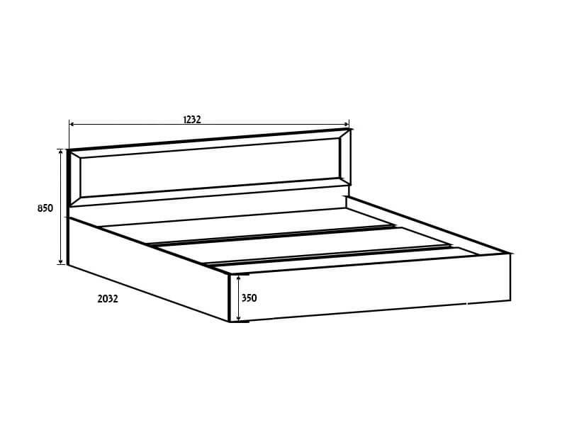 ВМ14 Кровать спальное место 120-200 850х1232х2032 мм
