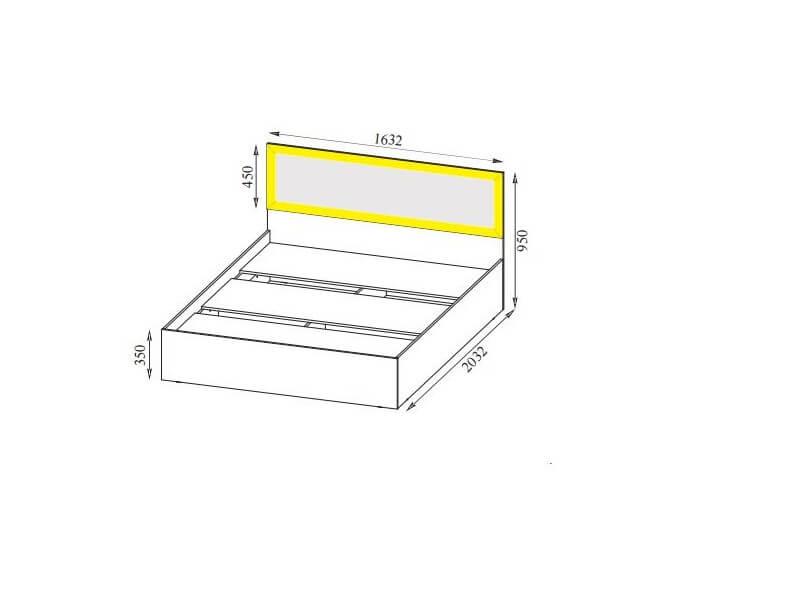 ВМ15 Кровать с основанием ЛДСП спальное место 160-200 950х1632х2032 мм