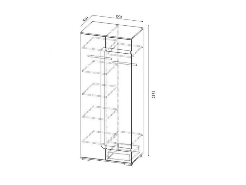 Шкаф комбинированный 2134х850х540мм