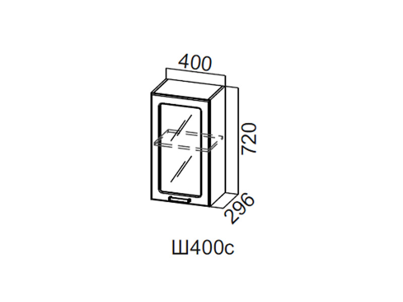 Дополнительный модуль Шкаф навесной со стеклом 400 Ш400с 720x600x296мм