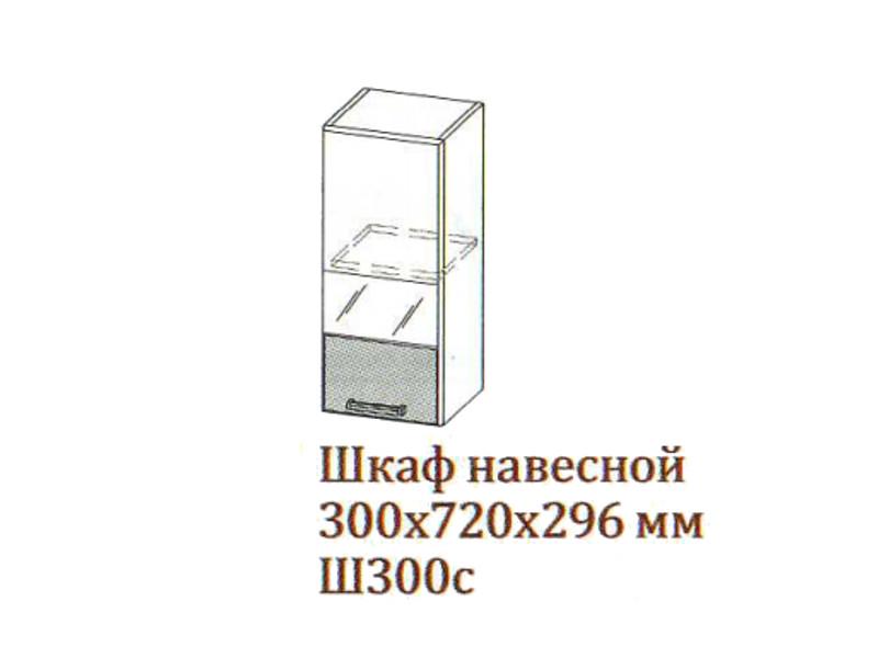 Шкаф навесной 300-720 со стеклом Ш300с-720 300х720х296