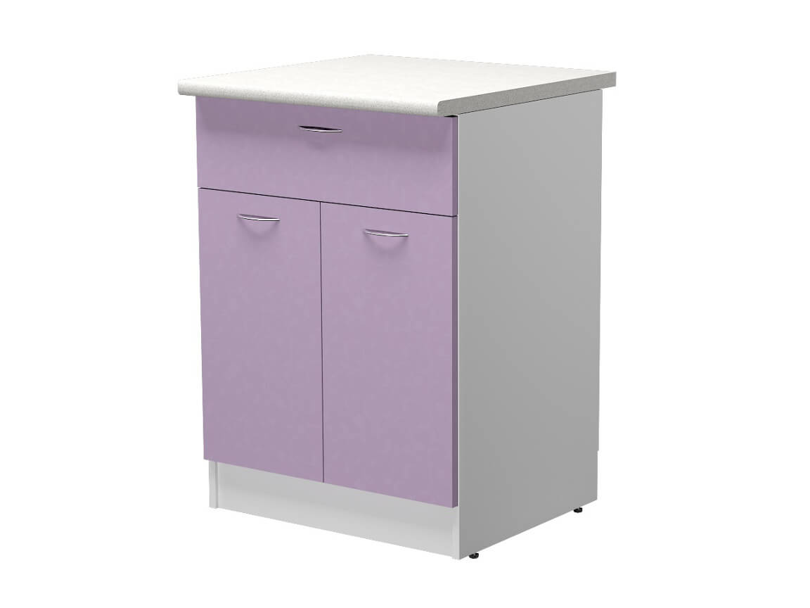 Стол рабочий 1 ящик и 2 дверцы СР.60.15М.1 600х600х850