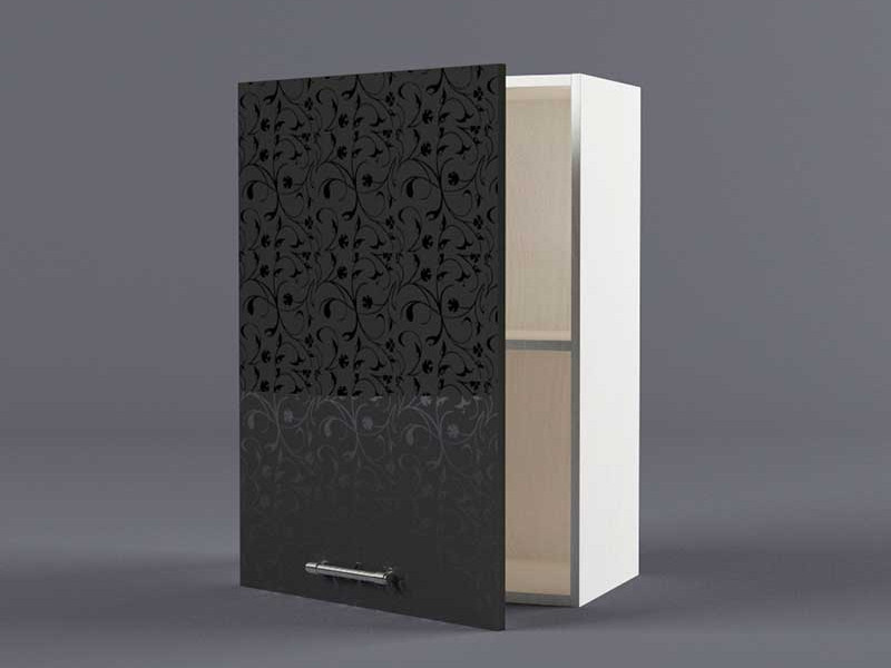 Шкаф навесной В500 1дв 720х500х300 Черные цветы