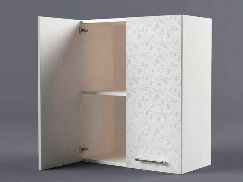Шкаф навесной В600 2дв 720х600х300 Белые цветы