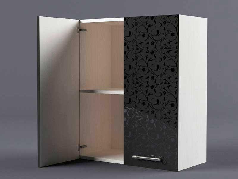 Шкаф навесной В600 2дв 720х600х300 Черные цветы