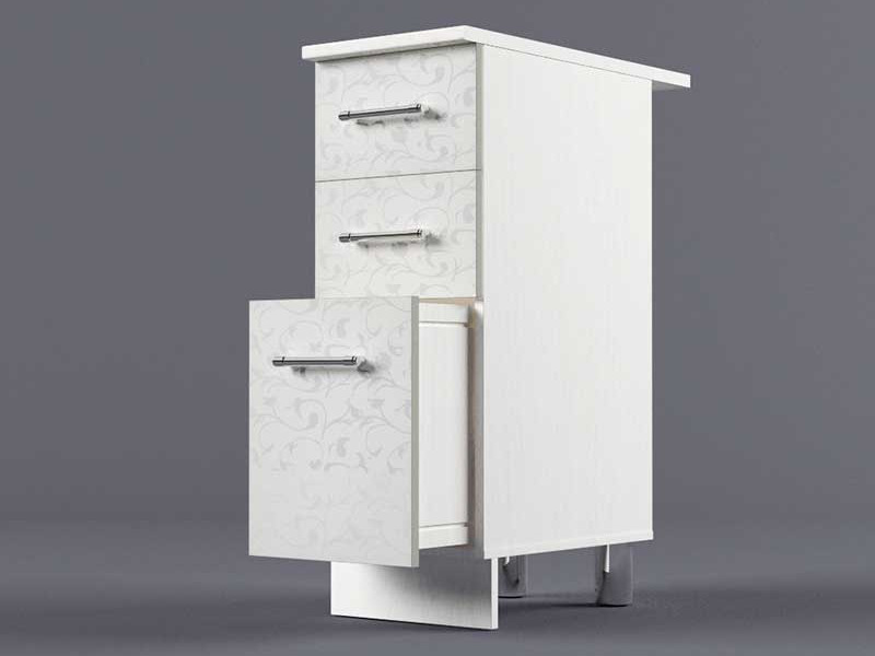 Шкаф напольный Н300 3ящ 850х300х600 Белые цветы