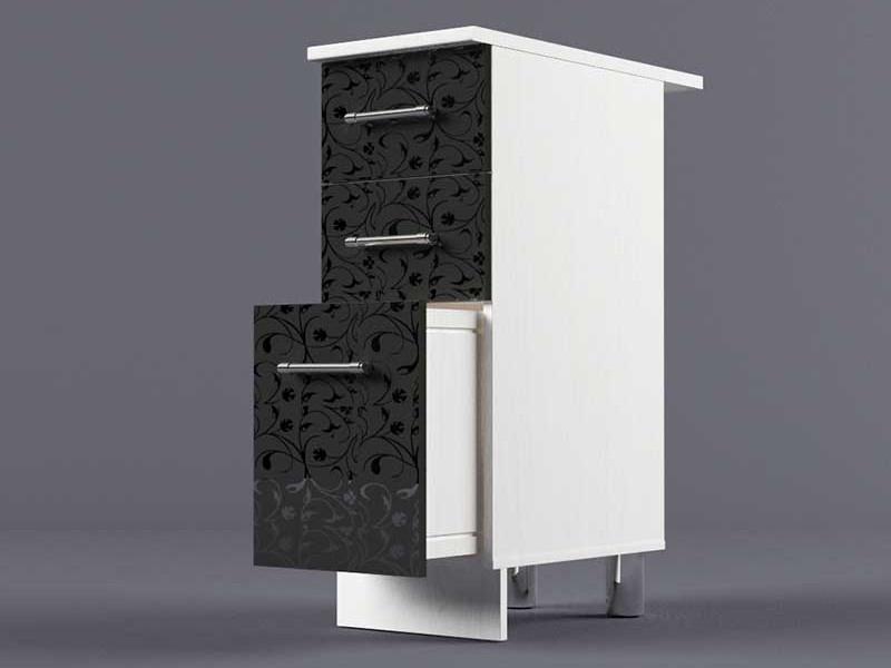 Шкаф напольный Н300 3ящ 850х300х600 Черные цветы