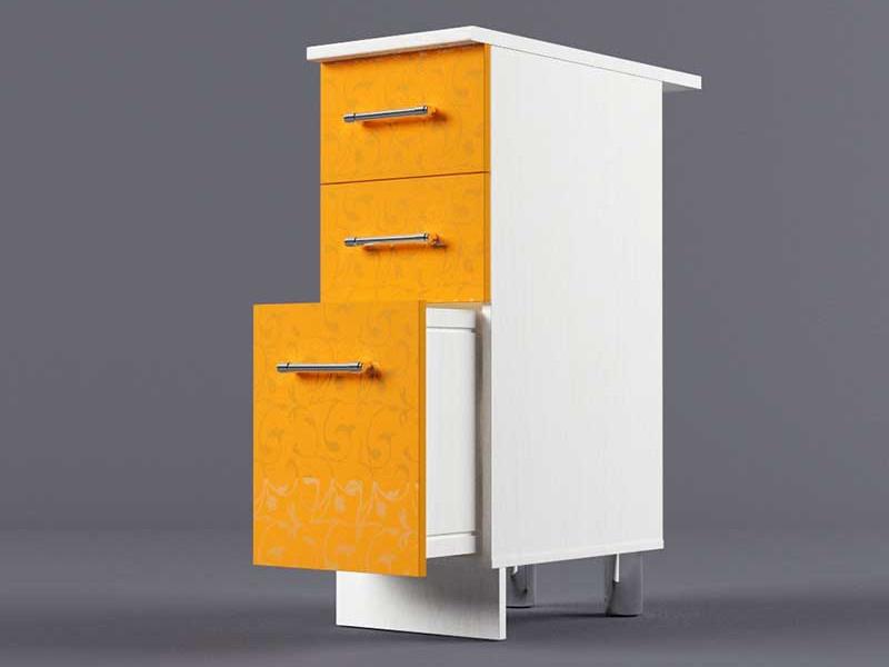Шкаф напольный Н300 3ящ 850х300х600 Оранжевый