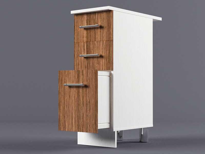 Шкаф напольный Н300 3ящ 850х300х600 Бодега темная