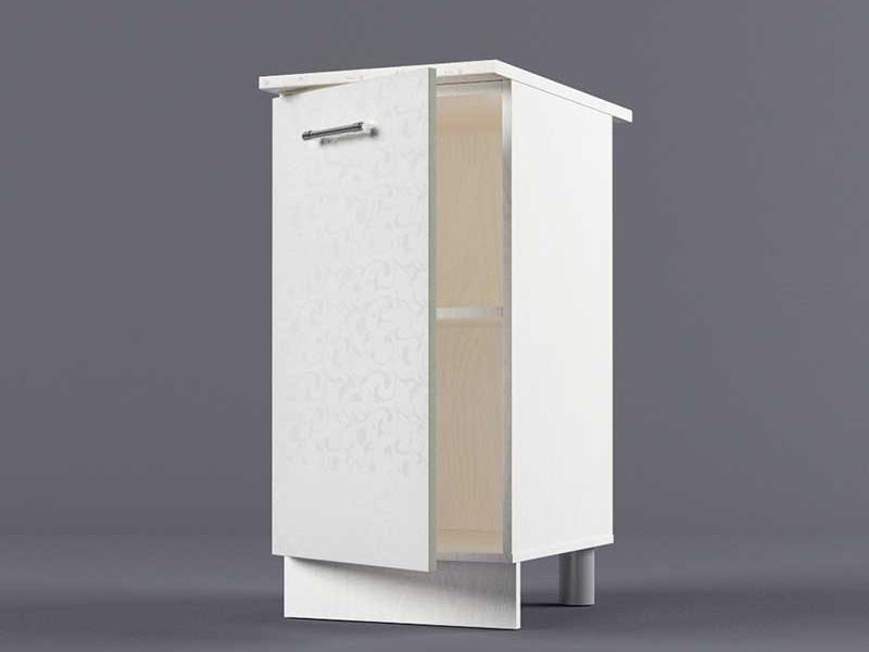 Шкаф напольный Н400 1дв 850х400х600 Белые цветы