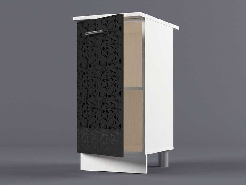 Шкаф напольный Н400 1дв 850х400х600 Черные цветы