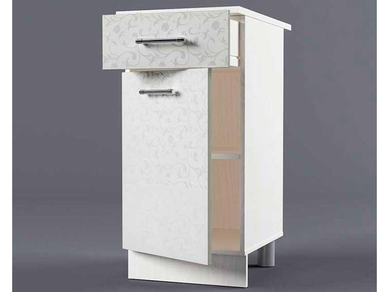 Шкаф напольный Н400 1ящ 1дв 850х400х600 Белые цветы