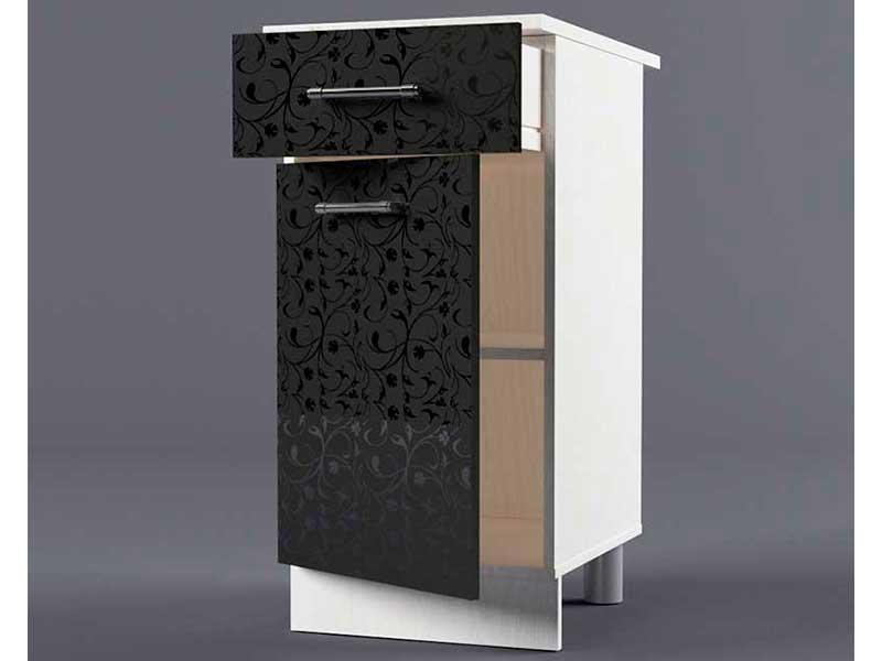 Шкаф напольный Н400 1ящ 1дв 850х400х600 Черные цветы