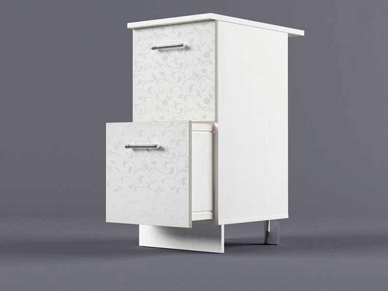 Шкаф напольный Н400 2ящ 850х400х600 Белые цветы
