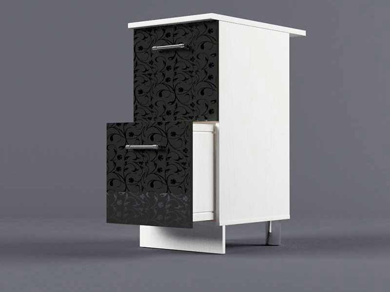 Шкаф напольный Н400 2ящ 850х400х600 Черные цветы