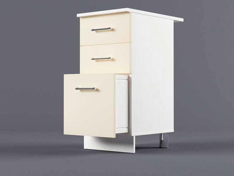 Шкаф напольный Н400 3ящ 850х400х600 Бежевый