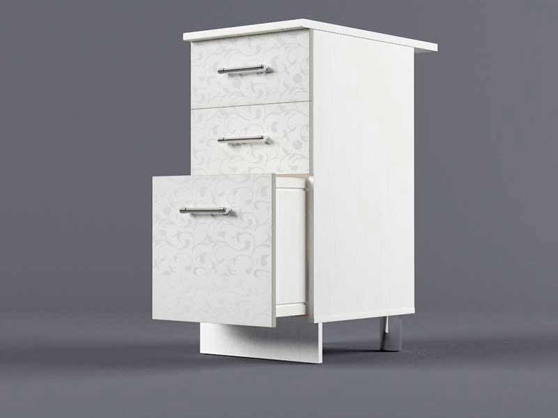 Шкаф напольный Н400 3ящ 850х400х600 Белые цветы