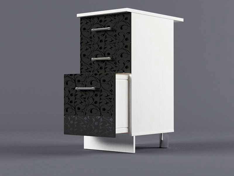 Шкаф напольный Н400 3ящ 850х400х600 Черные цветы