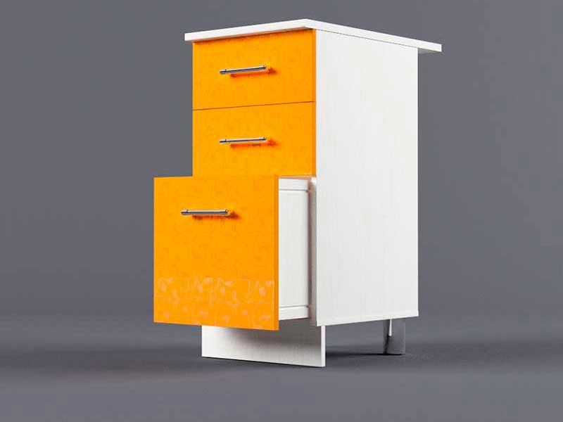 Шкаф напольный Н400 3ящ 850х400х600 Оранжевый