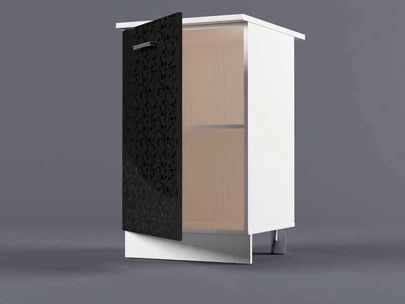 Шкаф напольный Н500 1дв 850х500х600 Черные цветы