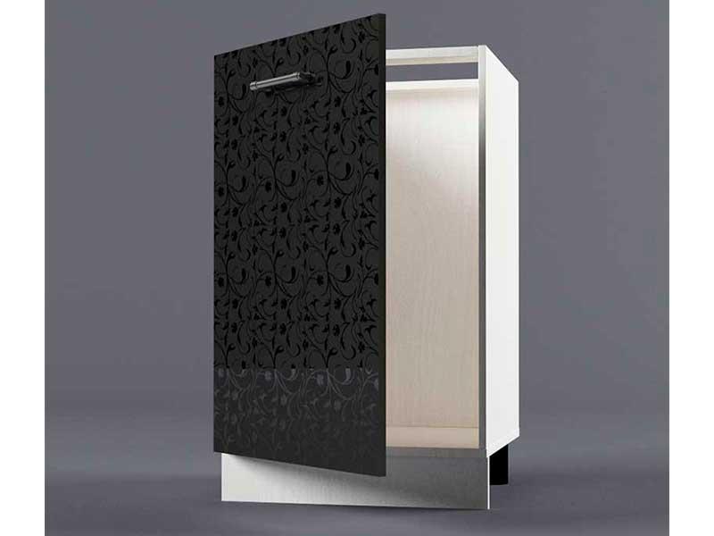 Шкаф напольный Н500 1дв под мойку 850х500х600 Черные цветы