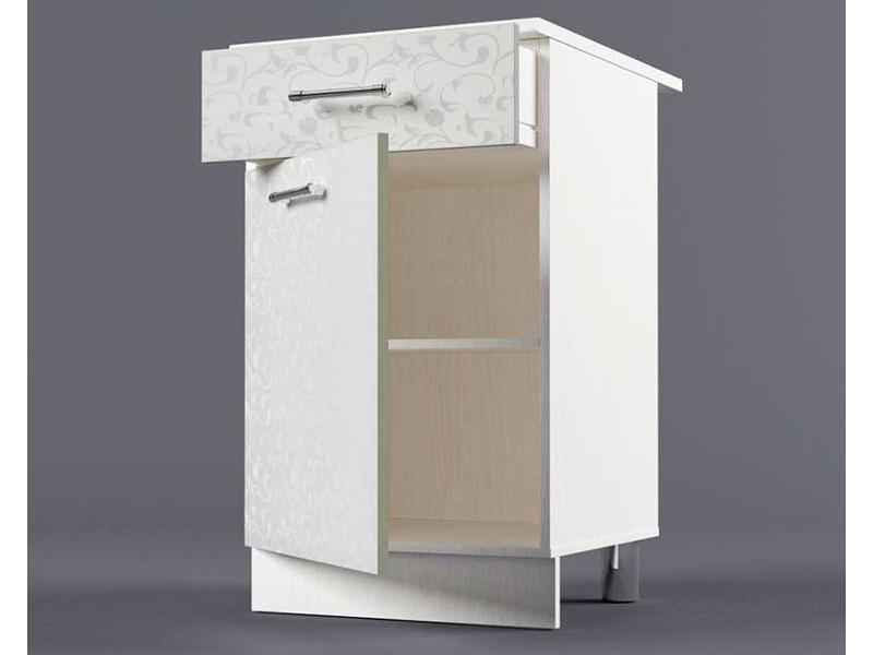 Шкаф напольный Н500 1ящ 1дв 850х500х600 Белые цветы
