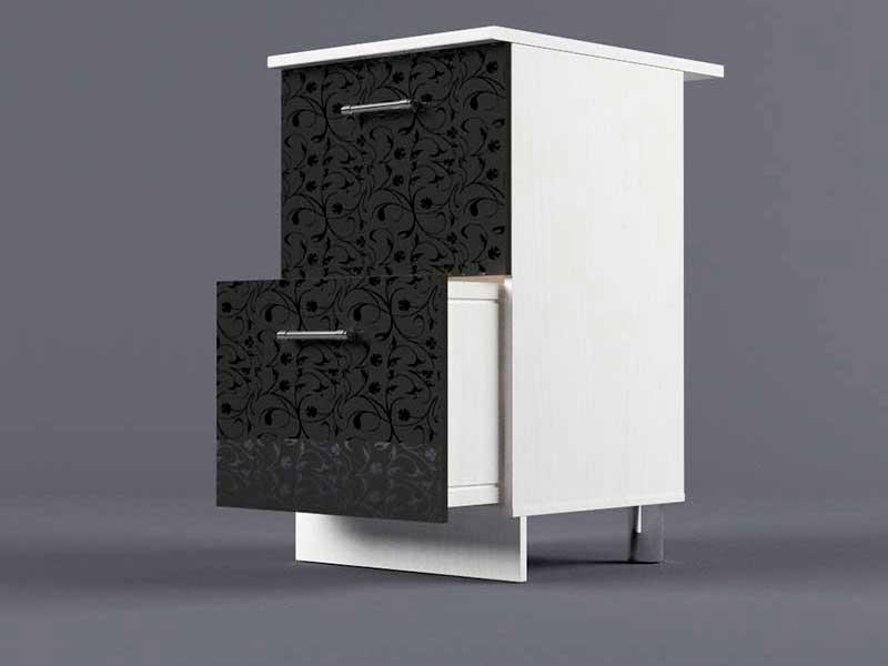 Шкаф напольный Н500 2ящ 850х500х600 Черные цветы
