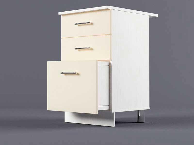 Шкаф напольный Н500 3ящ 850х500х600 Бежевый