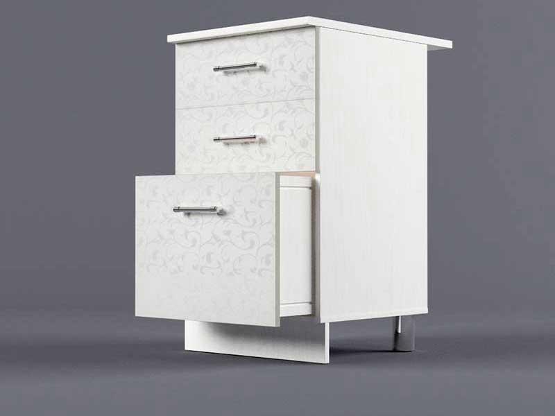 Шкаф напольный Н500 3ящ 850х500х600 Белые цветы