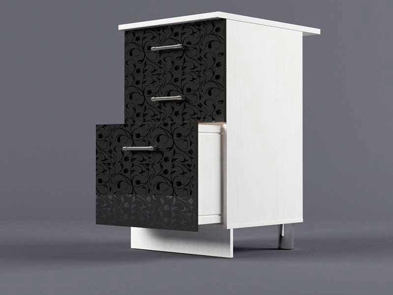 Шкаф напольный Н500 3ящ 850х500х600 Черные цветы