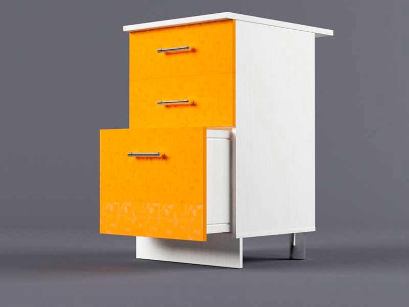 Шкаф напольный Н500 3ящ 850х500х600 Оранжевый