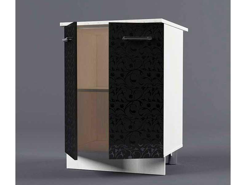 Шкаф напольный Н600 2дв 850х600х600 Черные цветы