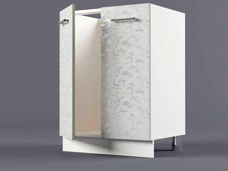 Шкаф напольный Н600 2дв под мойку 850х600х600 Белые цветы