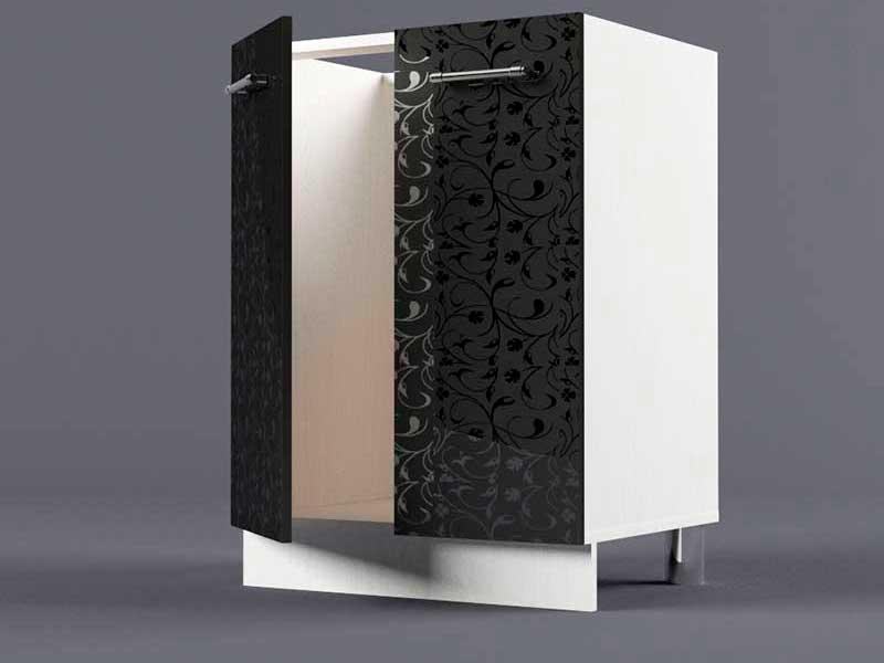 Шкаф напольный Н600 2дв под мойку 850х600х600 Черные цветы